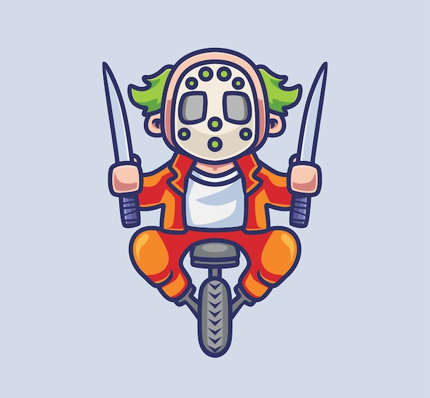 Un tueur de clown mignon chevauche une roue tenant des couteaux illustration d'halloween d'animal de dessin animé isolé