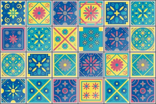 Tuiles de design d'intérieur de mode de modèle sans couture méditerranéen tuile d'azulejo de vecteur portugais