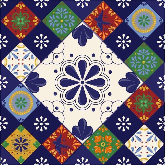 Tuiles mexicaines talavera aux formes colorées