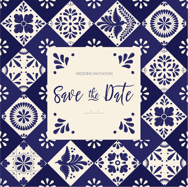 Tuiles mexicaines talavera - save the date card template