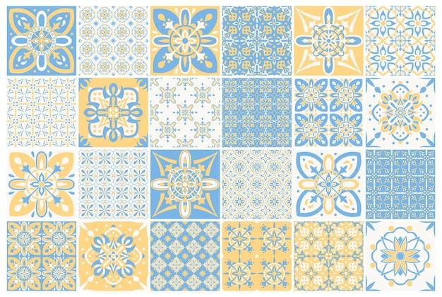 Tuiles portugaises ornées traditionnelles. modèle pour la conception textile. mosaïque géométrique, majolique.