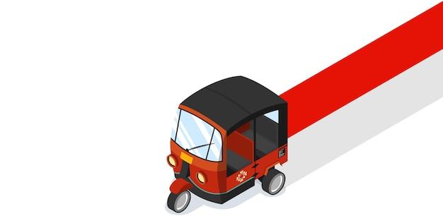Tuk tuk de pousse-pousse automatique indonésien avec illustration vectorielle isométrique de bannière de drapeau national