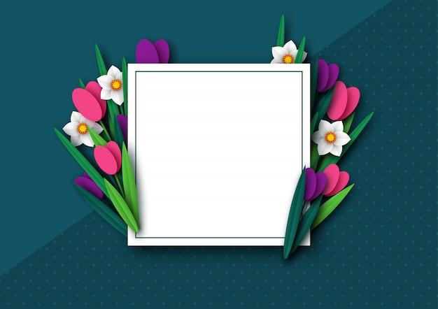 Tulipe et narcisse de fleurs de printemps coupées en papier.