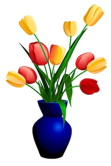 Tulipes dans le vase bleu isolé sur blanc