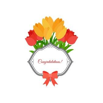 Tulipes roses et jaunes félicitations design