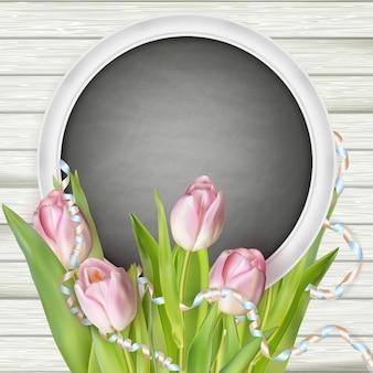 Tulipes avec tableau noir.
