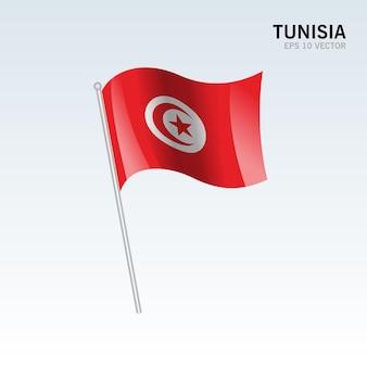 Tunisie, agitant le drapeau isolé sur gris