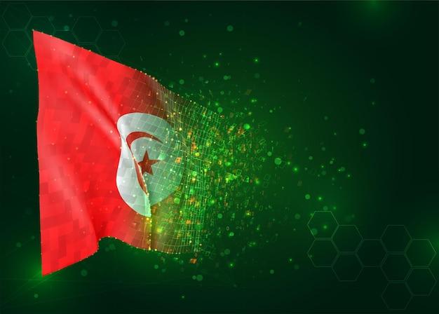 Tunisie, drapeau 3d sur fond vert avec des polygones
