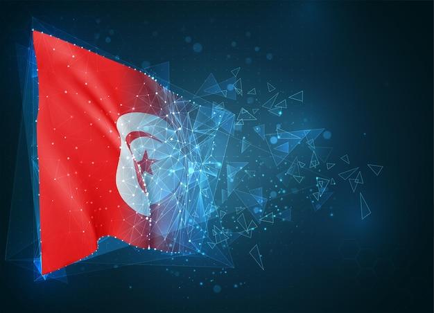 Tunisie, drapeau, objet 3d abstrait virtuel de polygones triangulaires sur fond bleu
