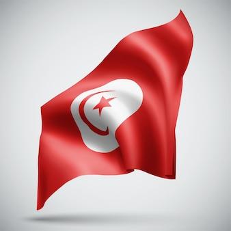 Tunisie, vecteur 3d flag isolé sur fond blanc