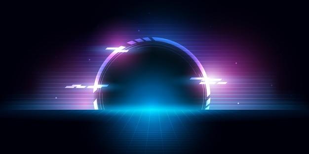 Tunnel abstrait demi-cercle futuriste avec une lumière vive à l'avenir.