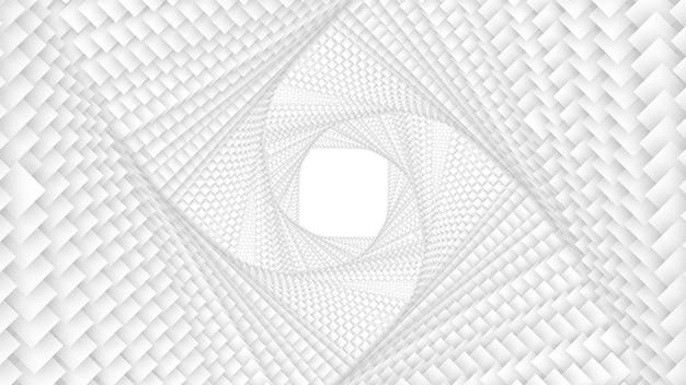 Tunnel de carrés blancs losanges ou carrés torsadés infinis vectoriels avec ombre douce
