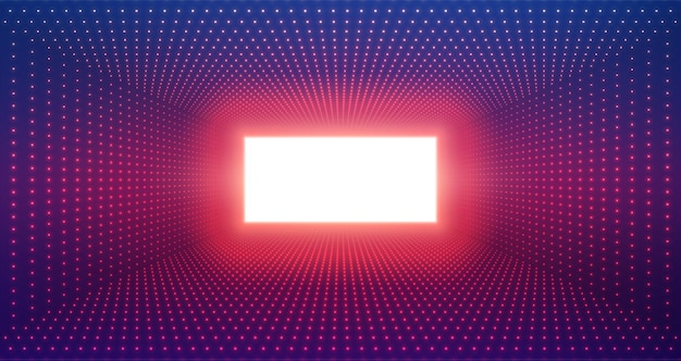 Tunnel rectangulaire infini de fusées éclairantes sur fond violet.