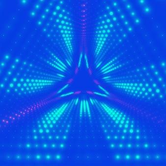 Tunnel triangulaire infini de vecteur de fusées éclairantes brillantes sur fond. les points lumineux forment des secteurs de tunnel. abstrait cyber fond coloré pour vos créations. papier peint géométrique moderne et élégant.