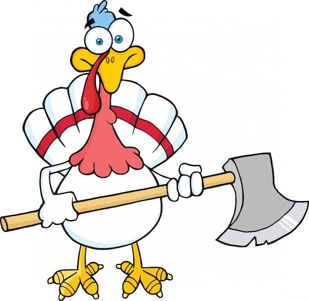 Turquie blanche avec personnage de dessin animé de hache.