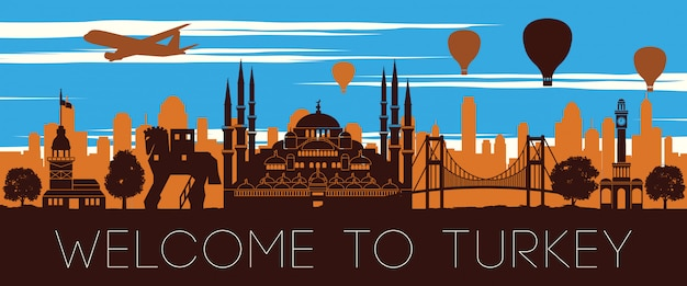 Turquie célèbre point de repère coucher de soleil silhouette design