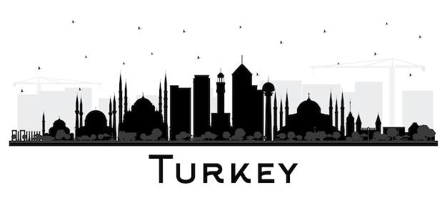 Turquie city skyline silhouette avec bâtiments noirs isolés sur blanc. illustration vectorielle. concept de tourisme avec architecture historique. paysage urbain de la turquie avec des points de repère. izmir. ankara. istanbul.