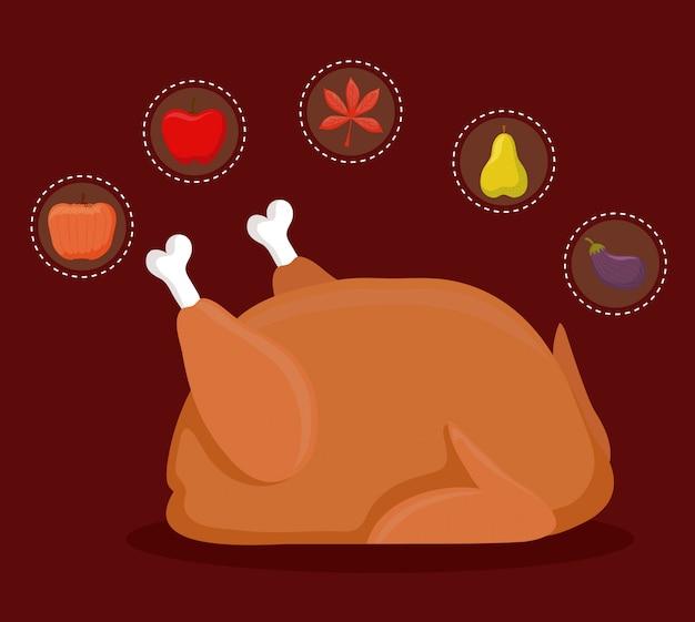 Turquie dîner de thanksgiving avec set s