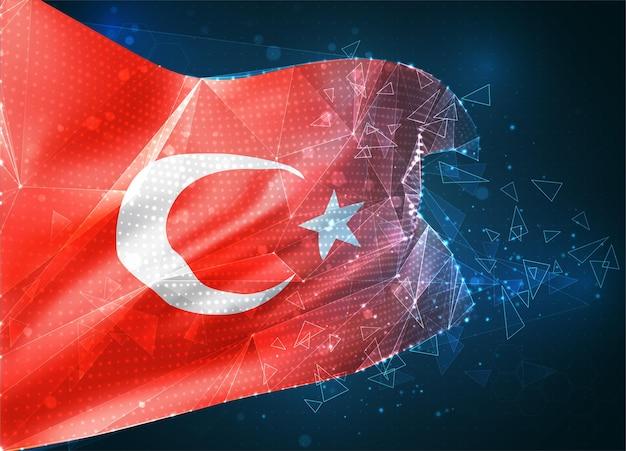 Turquie, drapeau vectoriel, objet 3d abstrait virtuel à partir de polygones triangulaires sur fond bleu
