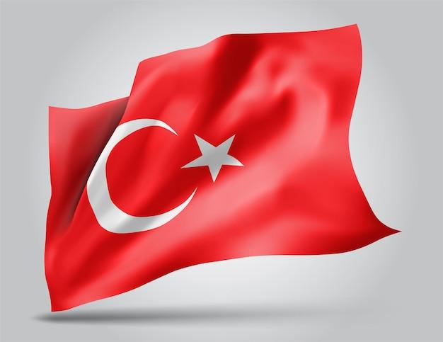 Turquie, drapeau vectoriel avec des vagues et des virages ondulant dans le vent sur fond blanc.