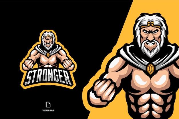 Tuteur homme forte mascotte logo personnage illustration de dessin animé