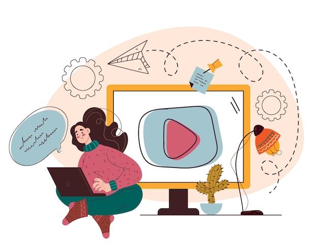 Tutoriel d'éducation web en ligne élément de conception de blogs web illustration dessinée à la main à plat