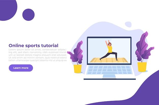 Tutoriel sportif en ligne, studios de yoga en streaming consept. travailler à la maison. illustration vectorielle