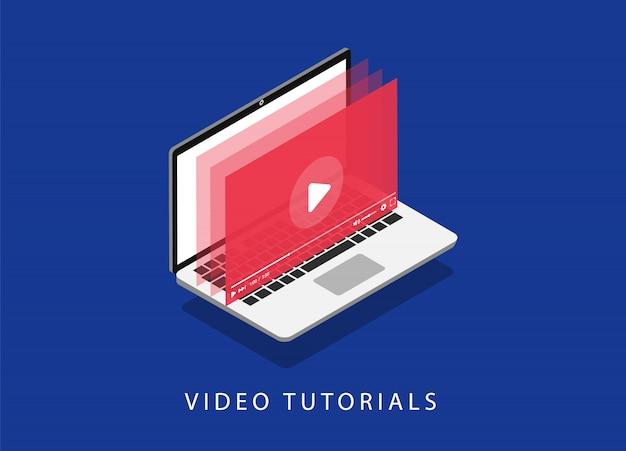 Tutoriels vidéos. la formation en ligne. séminaire en ligne. page de destination. pages web modernes pour sites web.