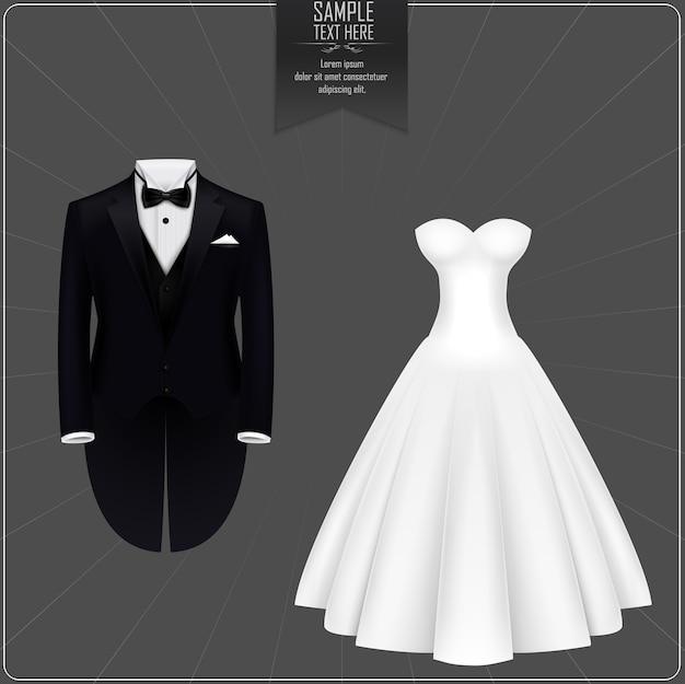 Tuxedo et robe de mariée