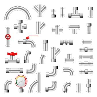 Tuyauterie de tuyauterie ou construction de tubes sifflés d'illustration de système de tuyauterie metaal ensemble de tubes en plastique avec vannes isolé sur fond blanc