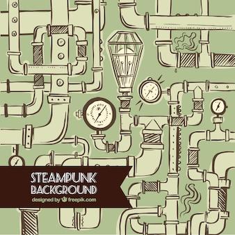 Tuyaux dessinés à la main fond steampunk