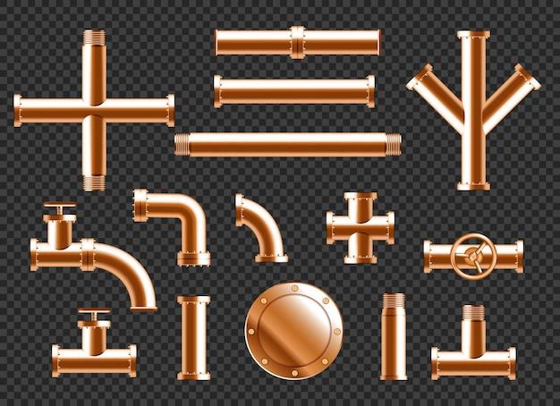 Tuyaux d'eau en cuivre, éléments de canalisation de plomberie avec robinets, vannes et connecteurs