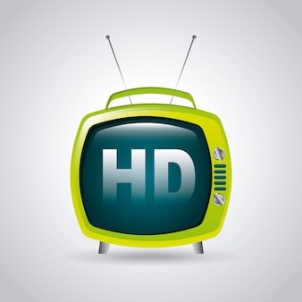 Tv hd sur illustration vectorielle fond gris