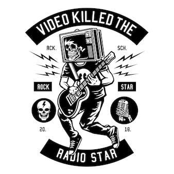 Tv head rock star illustration