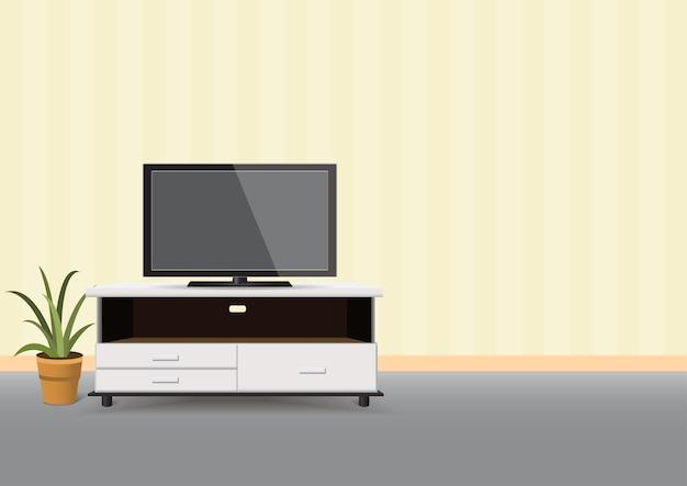 Tv led réaliste sur l'intérieur de la table de nuit. salon.