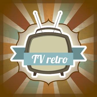Tv rétro sur l'illustration vectorielle fond grunge