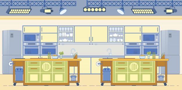 Tv show culinaire studio avec cuisines équipées.