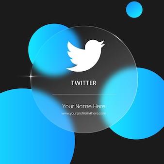 Twitter carte en verre floue transparente pour les médias sociaux
