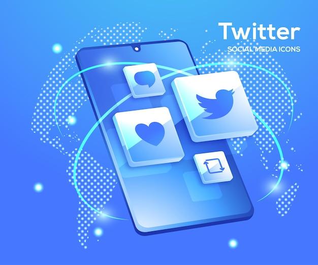 Twitter icônes de médias sociaux 3d avec symbole de smartphone