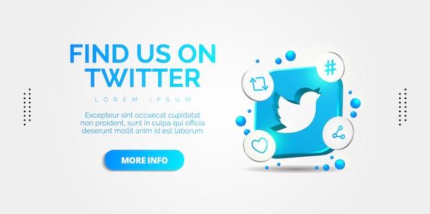 Twitter médias sociaux avec des designs colorés.