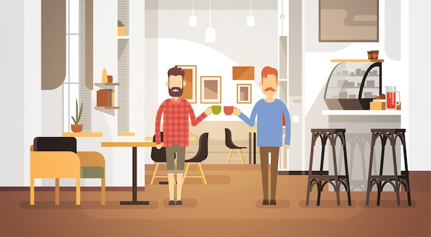 Two man drink coffee café moderne restaurant intérieur