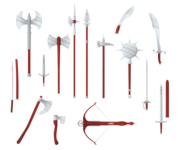 Type d'arme de guerre médiévale, arbalète d'icône de concept de jeu, épée, hache, masse de brochet et katana vieux plat d'armes à froid, isolé sur blanc. équipement de dessin animé de meurtre, arme de mêlée mondiale.