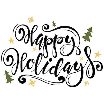 Type de bonnes vacances. carte de voeux de noël avec des arbres, des flocons de neige, des étoiles et des textes dessinés à la main. illustration vectorielle isolée