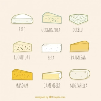 Type de collection de fromage, le style dessiné à la main