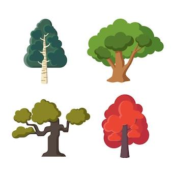 Type de design plat de collection d'arbres