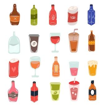 Type différent de cuisine de boisson en verre de bouteille