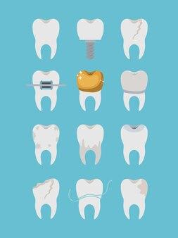 Type différent de dents mis sur l'affiche de couleur