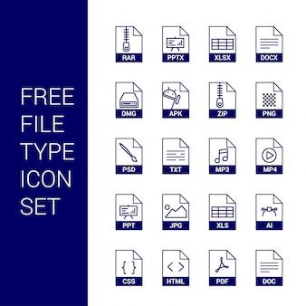 Type de fichier icônes définies vecteur