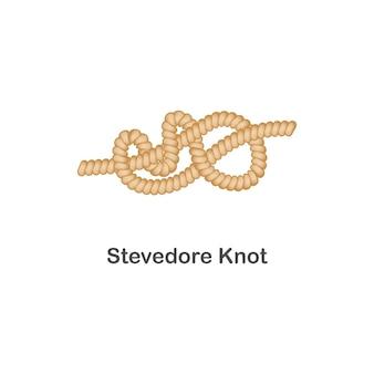 Type de noeud de débardeur nautique ou marin pour corde avec boucle, mer réaliste isolée.