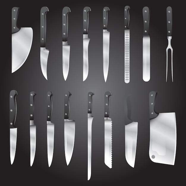 Type réaliste de jeu de vecteur de couteaux